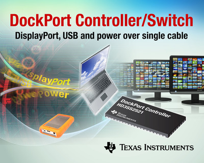 TI's HD3SS2521 DockPort Controller delivers audio/video, USB data and power over a single cable between a notebook, ultrabook or tablet PC and a docking station or dongle. DockPort provides a lower cost alternative to proprietary implementations and offers more features than standard USB docking stations. It enables system designers to create smaller, more affordable docking stations that connect and synchronize computers with LCD monitors, dongles, keyboard/mouse, Gigabit Ethernet, storage, audio speakers, DVD/Blu-ray media player and smartphone.  (PRNewsFoto/Texas Instruments)