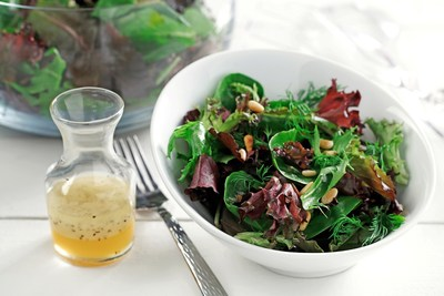 Canola oil is excellent for vinaigrettes like this Honey-Lemon Vinaigrette because of its neutral taste and light texture. Moreover, canola oil-based dressings remain free-flowing in the refrigerator due to the oil's low saturated fat content. Learn more at CanolaInfo.org.