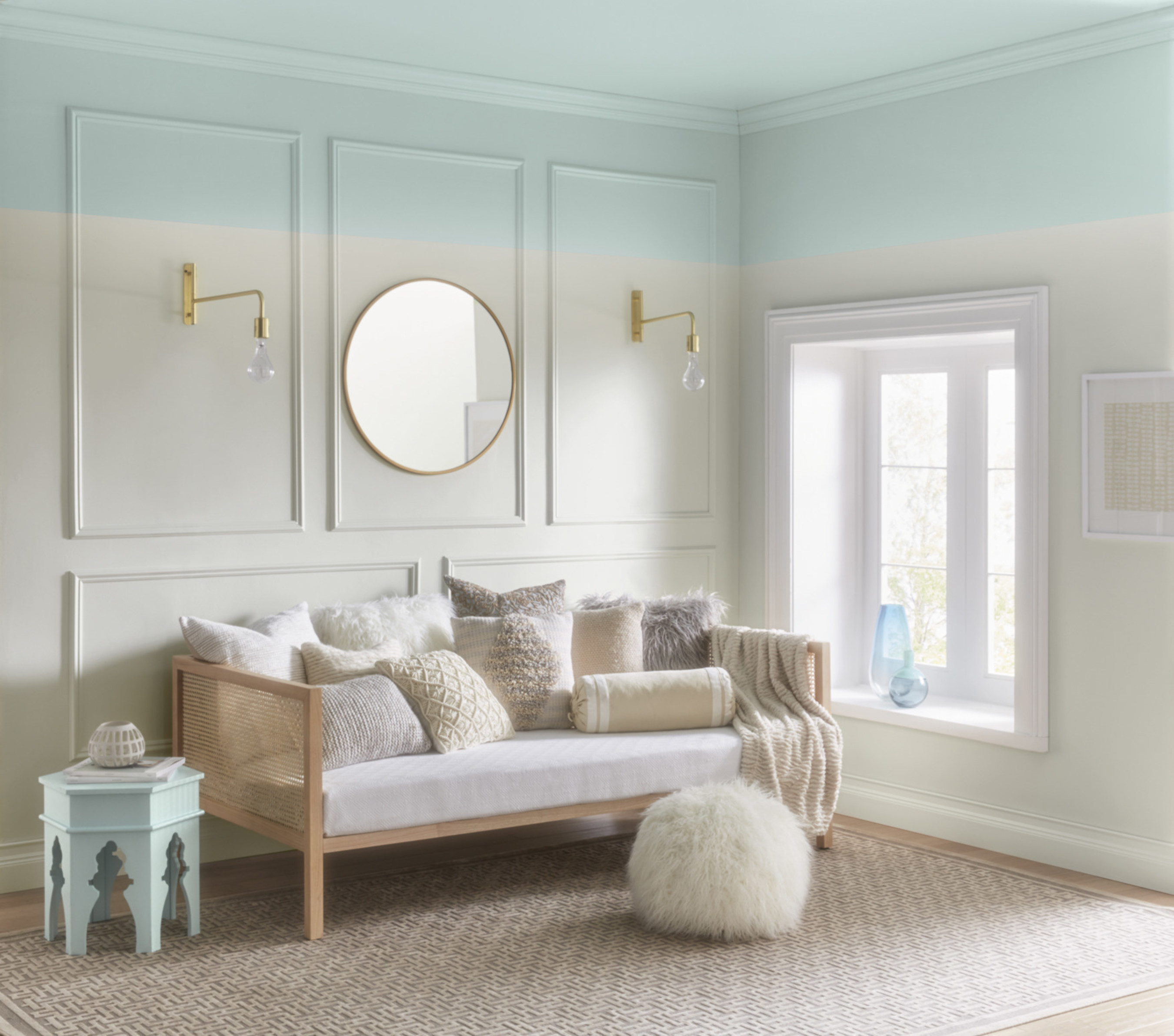 """Lowe's 5002-5B Dreamy Clouds/ Ace: VR080E Snow in June/ Independent Retailers: V102-1 Snow in June/ This dreamy sky blue is soothing, restful and restorative. It reflects today's spotlight on sleep and its importance in health and productivity. """"This light, airy blue is instantly calming and helps to restore natural rhythms,"""" said Kim."""