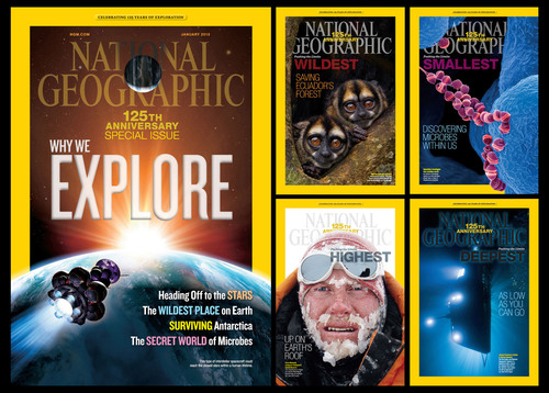 "The January issue of National Geographic magazine, a special issue in celebration of National Geographic Society's 125th anniversary in January, is themed ""The New Age of Exploration"" and features five covers, a first in the magazine's publishing history.  (PRNewsFoto/National Geographic Society)"