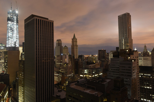Much of Lower Manhattan was plunged into darkness in the immediate aftermath of Hurricane Sandy, causing massive business disruption.  Companies using brightstack's FlexOffice hybrid cloud technology reported 100% uptime.  (PRNewsFoto/brightstack(R)  ...