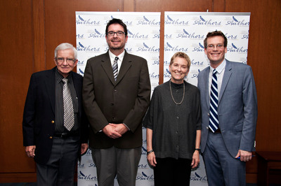 Four Indiana authors demonstrating the best of Indiana's influence on the nation's literary landscape recently received a 2012 Eugene & Marilyn Glick Indiana Authors Award by The Indianapolis Public Library Foundation: (L-R) Dan Wakefield (Lifetime Achievement Honoree), Christopher Coake (Emerging Author winner), Barbara Shoup (Regional Author winner) and John Green (National Author winner).  (PRNewsFoto/The Indianapolis Public Library Foundation)