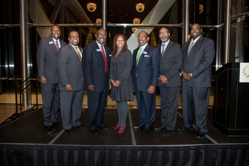 Pictured from Left to Right: Dr. Glen Jones, Chairman of Southern Bancorp, Inc.; Darrin Williams, CEO of Southern Bancorp, Inc.; Sherman Tate, Chairman of Southern Bancorp Bank; Dr. Sherece West-Scantlebury, President and CEO of the Winthrop Rockefeller  ...