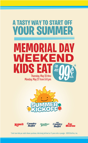 Buffets, Inc. and its portfolio of restaurants including Ryan's, HomeTown Buffet, and Old Country are celebrating the summer with family-friendly activities throughout the long Memorial Day weekend. Kids 11 and younger may enjoy 99-cent meal deals from 5-8 pm each night, and families may register for a chance to win a dream vacation with the Summer Kick Off sweepstakes. All the fun starts May 23 and continues through May 27.  (PRNewsFoto/Buffets, Inc.)