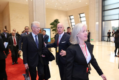Italy's Former Prime Minister Mario Monti welcomed by Brice Pean, GM of Sunrise Kempinski Hotel, Beijing & Yanqi Island