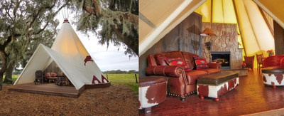 The new Luxe Teepees at Westgate River Ranch Resort & Rodeo in River Ranch, Fla. offer the next evolution in glamping (glamorous camping). Each Luxe Teepee features a double-sided stone rock hearth fireplace, screened private patio deck, microwave, mini refrigerator, leather chairs, a king bed, full sleeper sofa, air conditioning and heating, and a private ensuite bathroom with vanity and porcelain cast iron claw bathtub and shower.  www.westgateriverranch.com