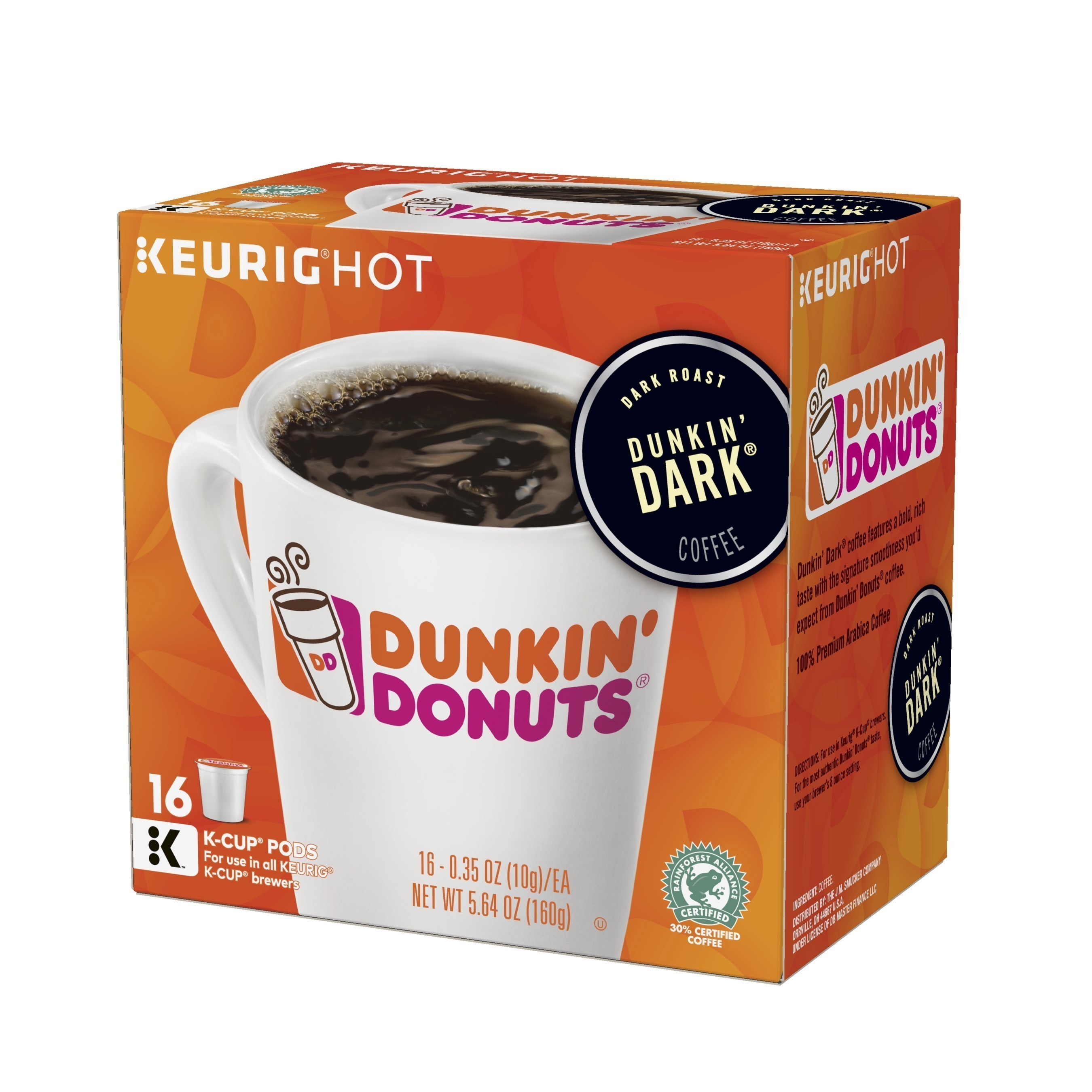 Dunkin' Dark K-Cup(R) pods, available at groceries stores nationwide.