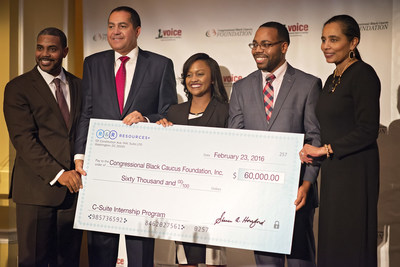 Former Nevada Congressman Steven Horsford (pictured far left) and his Washington, DC-based firm, R&R Resources+, donates $60,000 to the Congressional Black Caucus Foundation (CBCF) to support the launch of Pathways to the C-Suite, a new internship program that engages African American college students in private sector career and leadership opportunities in Washington, D.C. Pictured next to Steven Horsford (from left to right) is R. Donahue Peebles, Chair, Congressional Black Caucus Foundation, Inc.; Kaitlynn Broussard, Intern, Pathways to the C-Suite program; LaVontae Brooks, Intern, Pathways to the C-Suite program; A. Shuanise Washington, President and CEO, Congressional Black Caucus Foundation, Inc.
