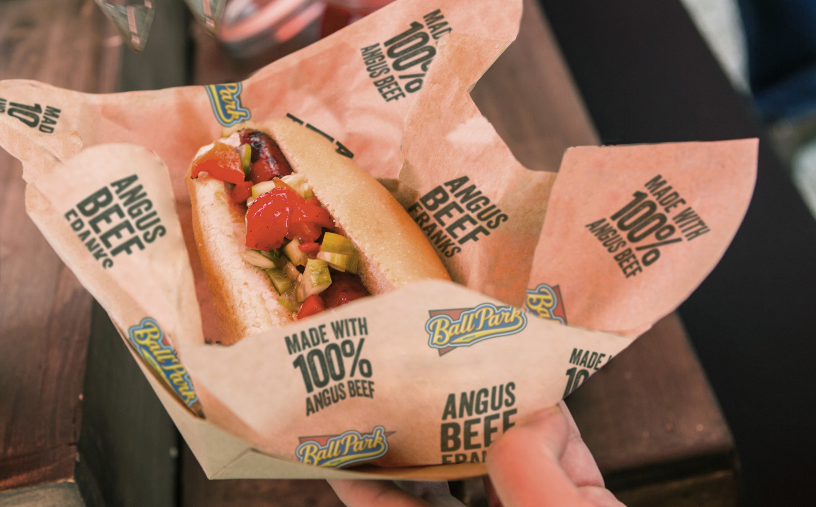 Ball Park Franks, made with 100% Angus Beef.