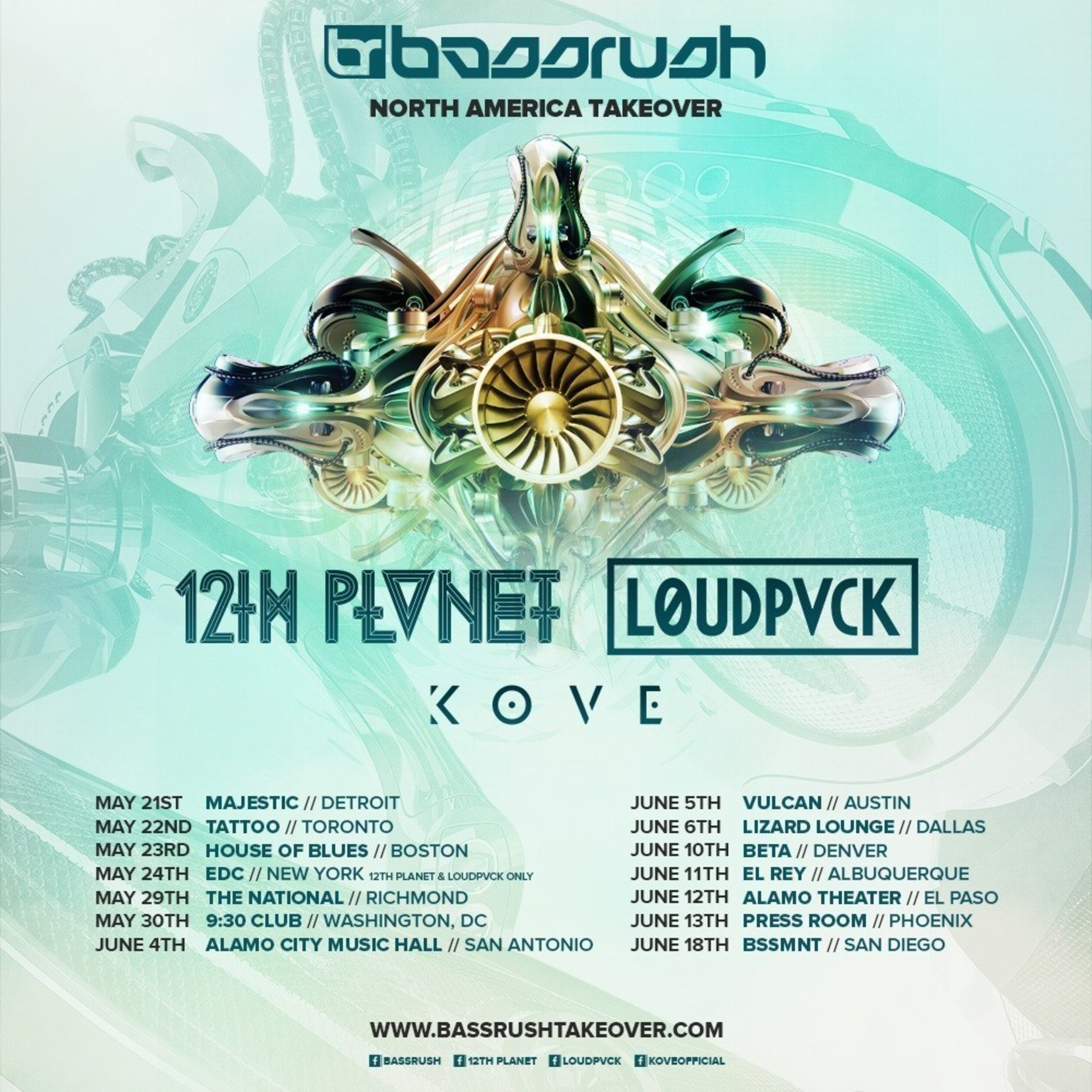 INSOMNIAC ANNOUNCES FIRST EVER BASSRUSH TOUR FEATURING 12TH PLANET, LOUDPVCK AND KOVE
