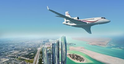 Dassault's flagship Falcon 7X flying over Abu Dhabi