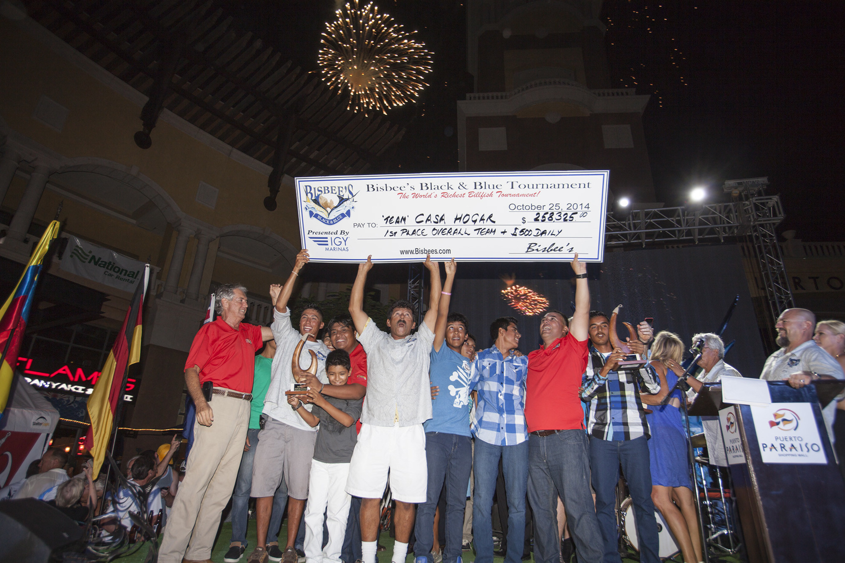 A group of orphans and their caregiver from Cabo San Lucas' Casa Hogar wins $250K in Bisbee's Black & Blue Fishing Tournament. Despite doubts about the tournament in the wake of the devastation of Hurricane Odile, 129 boats entered this year and more than $2 million in total prize money was given out.