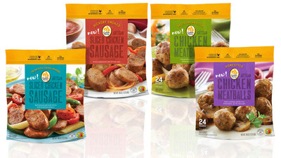 Gold'n Plump Sliced Chicken Sausages and Chicken Meatballs in homestyle and artisanal flavors feature chicken raised humanely with No Antibiotics-Ever.