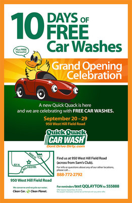 New Quick Quack Car Wash in Layton will offer 10 days of Free Car Washes for its Grand Opening