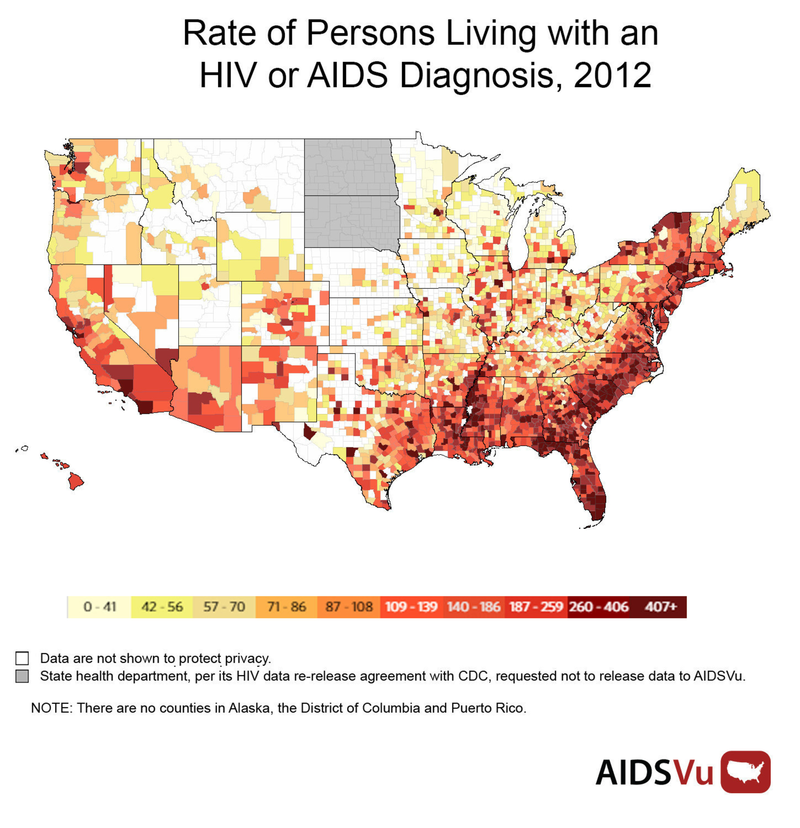 AIDSVu is a free, interactive online site that provides the most detailed publicly available view of HIV in the United States. It displays HIV prevalence and new diagnosis data at national, state, and local levels, and by different demographics, including age, race, and sex. www.AIDSVu.org