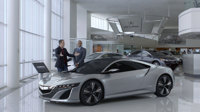 Jerry Seinfeld with the NSX Concept in Acura's First Super Bowl Ad.  (PRNewsFoto/American Honda Motor Co., Inc.)