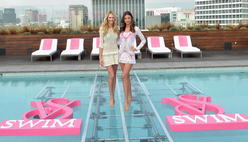 Victoria's Secret Supermodels Miranda Kerr and Candice Swanepoel Celebrate the 2012 Swim Collection.  (PRNewsFoto/Victoria's Secret)