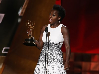 Viola Davis wins the Emmy for Outstanding Lead Actress in a Drama Series. (© LUCY NICHOLSON/Reuters/Corbis)