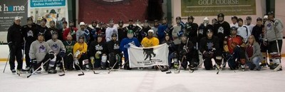 Injured veterans were provided with hockey equipment and uniforms so they could participate in a hockey basics workshop. Participants ran the gamut of experience levels.