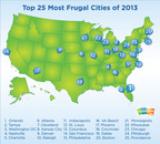Top 25 Most Frugal Cities for 2013 Unveiled by Coupons.com.  (PRNewsFoto/Coupons.com Incorporated)
