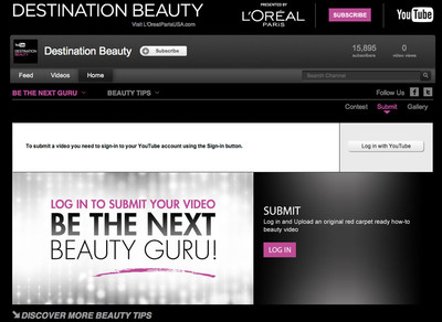 Are You the Next Destination Beauty Guru? L'Oreal Paris and YouTube Launch a Nationwide Contest for a Beauty Vlogger.  (PRNewsFoto/L'Oreal Paris)