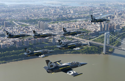 The Breitling Jet Team fly in formation over George Washington Bridge in New York City. Made up of seven L-39C Albatros jets that can reach speeds of up to 565 mph (909 kph), the Breitling Jet Team is the world's largest professional civilian jet flight team. (Andy Wolfe/Breitling)