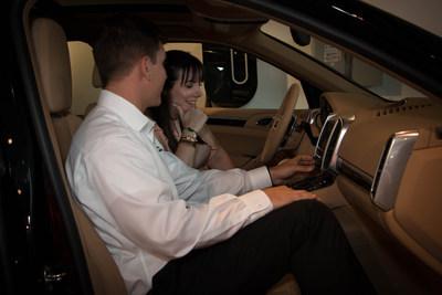 Tracy Blumenthal receives a walk-around of her new Porsche