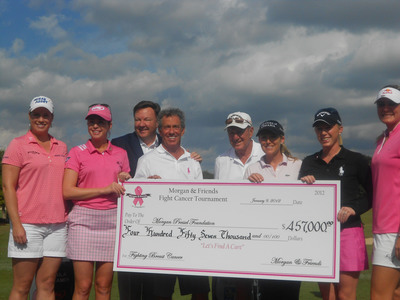 LPGA players (L-R) Brittany Lincicome, Paula Creamer, Cristie Kerr, Morgan Pressel, and Lexi Thompson pose with Craig Martin, St. Andrews CC COO/GM, Marty Weisfeld, and Dr. Herb Krickstein along with a benefit check during the Morgan and Friends Fight Cancer event at the St. Andrews Country Club on January 9, 2012, in Boca Raton, Florida. During the check presentation, a last minute donation of $18,000 by a St. Andrews Country Club member and his wife increased the funds raised to $475,000.  (PRNewsFoto/St. Andrews Country Club)