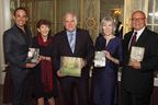 Stuttering Foundation President Jane Fraser (second from left) honors authors Scott Damian, Dr. Alan Rabinowitz, Anna Olswanger and Vince Vawter during its National Stuttering Awareness Week gala at the Lotos Club in New York City. (PRNewsFoto/Stuttering Foundation)