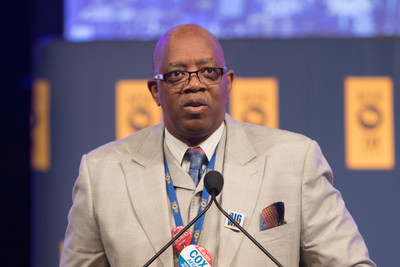 American Federation of Government Employees National Secretary-Treasurer Eugene Hudson Jr. addresses delegates at AFGE's 40th National Convention in Orlando. Credit: Keith Mellnick