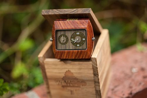 WeWOOD furthers its newest tree-planting initiative through the release of the Jupiter Brown-Army, pictured above. This watch features 100% natural bicolor wood detail and premium Japanese movements. (PRNewsFoto/WeWOOD)