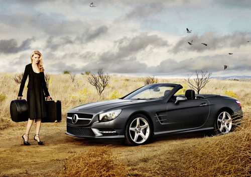 Icons of Style: Mercedes-Benz Features New SL Roadster and Supermodel Lara Stone in Calvin Klein Collection, Captured by Alex Prager.  (PRNewsFoto/Mercedes-Benz USA)