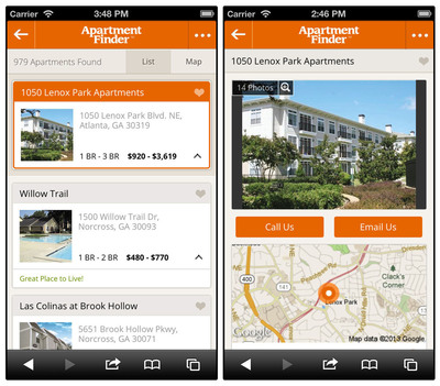 Featuring the user-friendly design of the recently enhanced ApartmentFinder.com, the new mobile site offers all the same content and tools to connect apartment seekers to apartment communities, faster and easier.  (PRNewsFoto/Network Communications, Inc.)