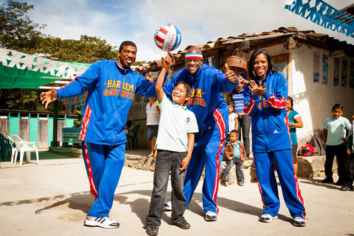 Globetrotters Buckets Blakes (left), Special K Daley and TNT Maddox in Honduras with World Vision. ...