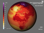 This image shows a simulation of the earth's temperature in the year 2090, based on research conducted on data at the German Climate Computing Center. Such simulations and other research on the more than 40 petabytes of data at the center require technology and services from IBM to provide quick, efficient access to such a large archive of information.