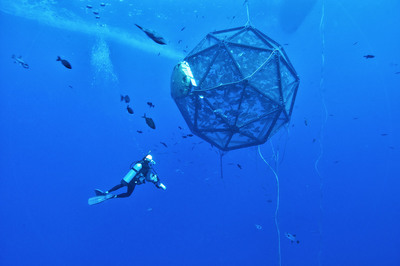 The mobile system, which is constantly moving over the ocean's surface, in waters over 12,000 ft deep, solves the potential problems of impacts on water quality or impacts on the seafloor, and appears to improve fish health and growth.  The system operates by integrating satellite communications, remote sensing data feeds, robotics, motor controls, and Lockheed Martin's command and control and situational awareness software.  (PRNewsFoto/Lockheed Martin)