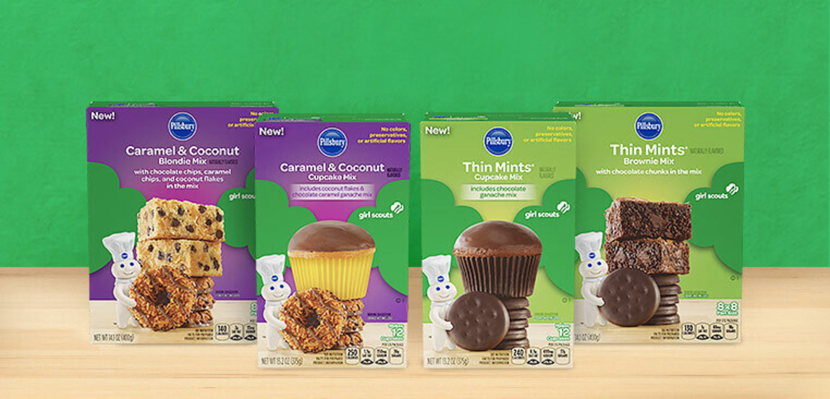 NEW Pillsbury(TM) Girl Scouts(R) Thin Mints(R) and Caramel & Coconut Flavored Baking Mixes