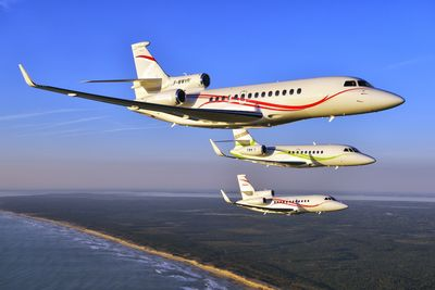 Falcon product range flying formation at the occasion of the Falcon fifty year anniversary