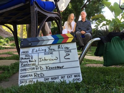 "Suzy Amis Cameron & James Cameron during on the set of ""Eating You Alive"""