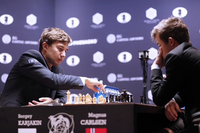Grandmaster Sergey Karjakin has announced today that he will conduct a charitable simultaneous chess exhibition in NYC on February 1st, 2017. Tickets will be sold on http://www.Reach2Stars.com via an all-pay auction. The auction will end on January 16, 2017, proceeds will go to UNICEF. Sergey Karjakin is a Russian chess Grandmaster who holds the Guinness World Records title as the world's youngest Grandmaster; he is competing this November in NYC with Magnus Carlsen of Norway for the title of the World Chess Champion.