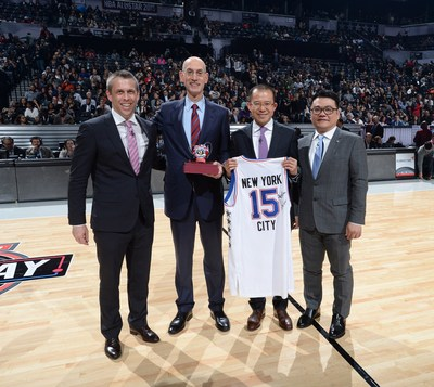 From left to right:NBA China CEO David Shoemaker, NBA Commissioner Adam Silver, Tencent President Martin Lau, Senior Executive Vice President of Tencent and President of its Online Media Group SY Lau