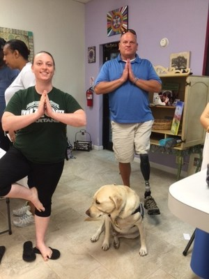 Injured veterans recently took a yoga class with Wounded Warrior Project in Montclair, Virginia. The class focused on techniques for deeper sleep and stress relief.