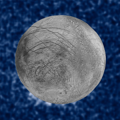 This composite image shows suspected plumes of water vapor erupting at the 7 o'clock position off the limb of Jupiter's moon Europa. The plumes, photographed by NASA's Hubble's Space Telescope, are seen in silhouette as the moon passed in front of Jupiter. Hubble's ultraviolet sensitivity allowed for the features -- rising over 100 miles above Europa's icy surface -- to be discerned. The water is believed to come from a subsurface ocean on Europa. The image of Europa, superimposed on Hubble data acquired in January 2014, is assembled from data from the Galileo and Voyager missions.