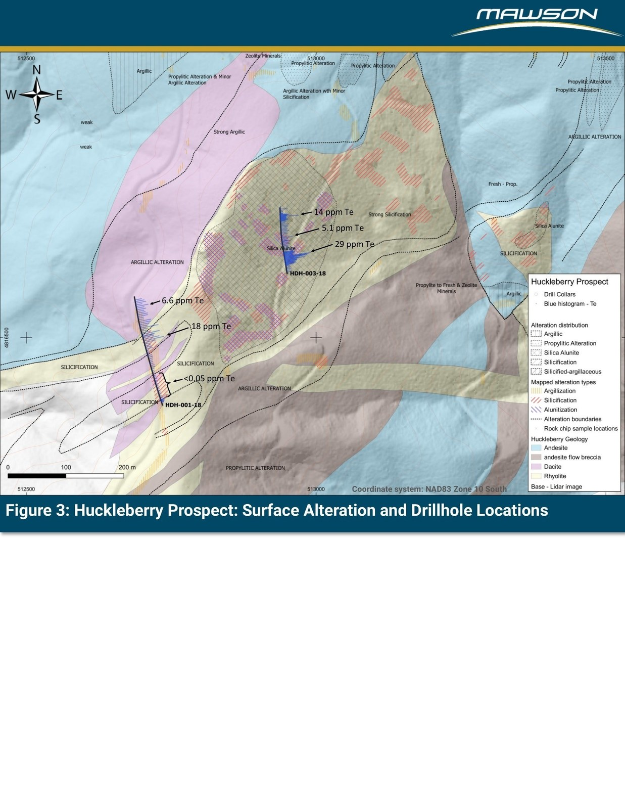 Figure 3: Huckleberry Prospect: Surface Alteration and Drillhole Locations