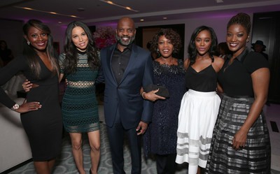 Lamell McMorris (center) with actresses and guests of Alfre Woodards 7th Annual Oscars Sistahs Soiree. (Photo by Todd Williamson, Getty Images)