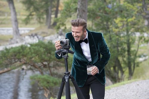 David Beckham sets up the camera on set during filming of the HAIG CLUB advert directed by Guy Ritchie ...