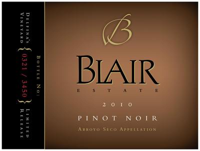 Blair Pinot Noir label.  (PRNewsFoto/Jeffrey Blair)