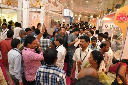 Visitors at the Gem & Jewellery India International Exhibition (GJIIE) 2013