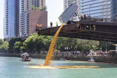 60,000 rubber ducks will splash into the Chicago River on August 4. The Windy City Rubber Ducky Derby benefits over 22,000 athletes who compete in Special Olympics Illinois.