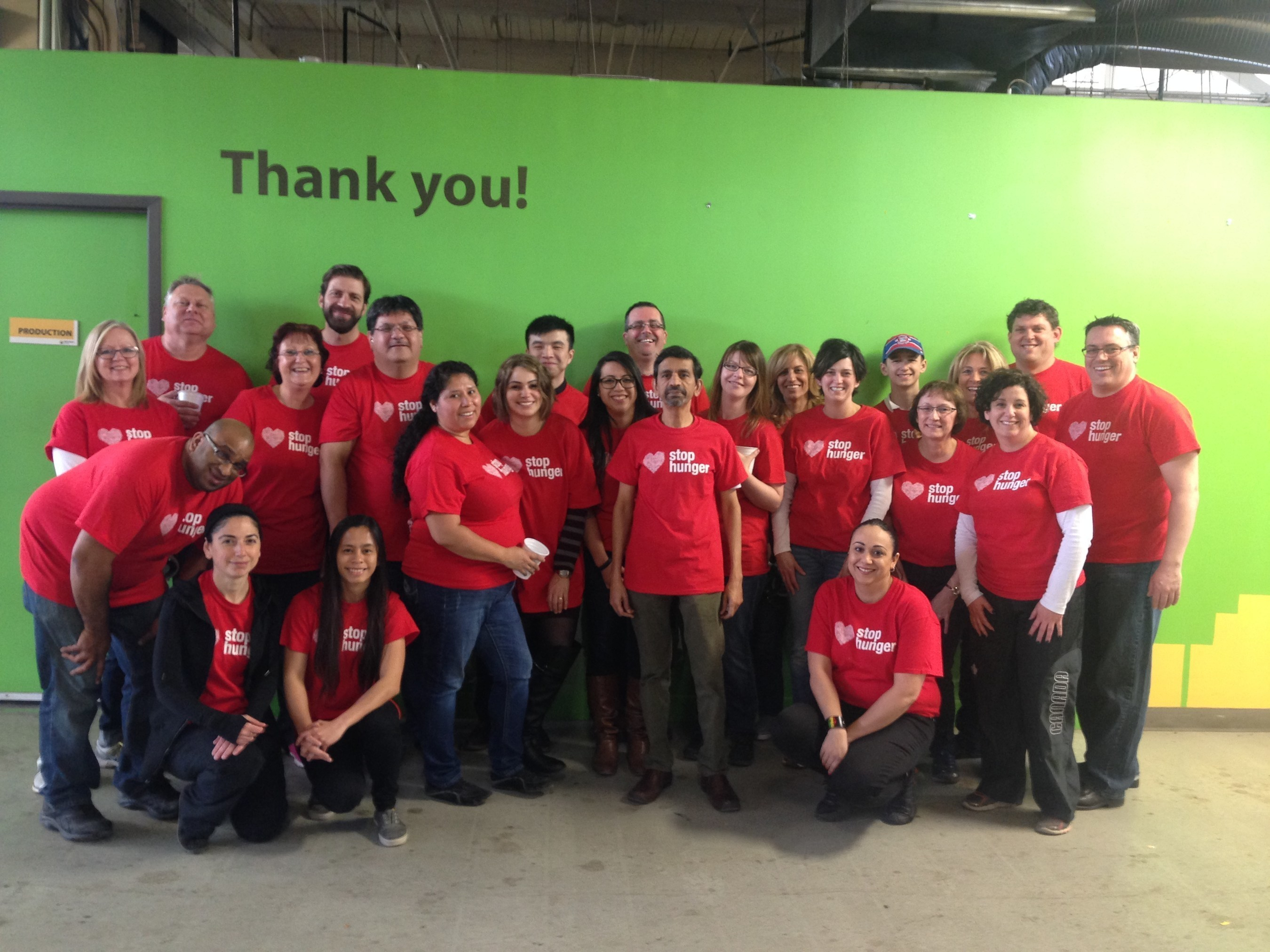Sodexo team in Toronto celebrates Stop Hunger Servathon, an annual volunteer effort throughout April that encourages Sodexo's 420,000 employees worldwide to fight hunger in local communities. 2016 marks the 20th anniversary of Sodexo's commitment to Stop Hunger.